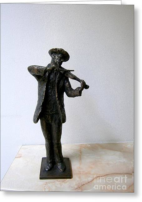 Realism Sculptures Greeting Cards - Street violinist Greeting Card by Nikola Litchkov
