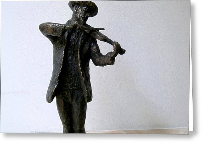 Street violinist Greeting Card by Nikola Litchkov