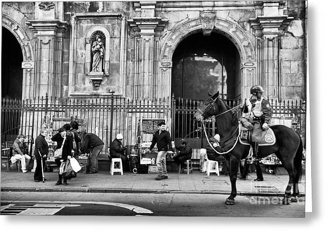 Street Watching In Santiago Mono Greeting Card by John Rizzuto