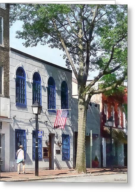 Alexandria Va - Street With American Flag Greeting Card by Susan Savad