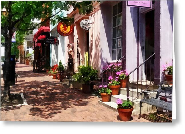 Street Scene Greeting Cards - Alexandria VA - Street With Art Gallery and Tobacconist Greeting Card by Susan Savad