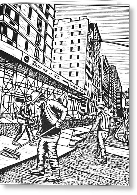 Linoluem Greeting Cards - Street Work in New York Greeting Card by William Cauthern
