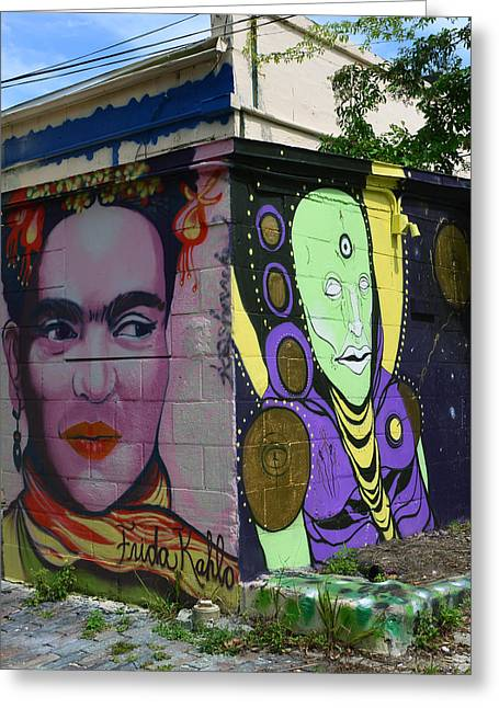 Artistic Portraiture Greeting Cards - Frida Kahlo and man street art Greeting Card by David Lee Thompson