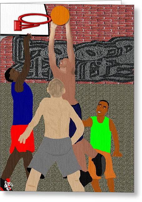 Dunking Pastels Greeting Cards - Streetball Shirts and Skins Hoopz 4 Life Greeting Card by Pharris Art