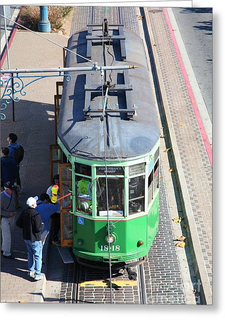 Sight Seeing San Francisco Greeting Cards - Streetcar At Pier 39 San Francisco California 5D26074 Greeting Card by Wingsdomain Art and Photography