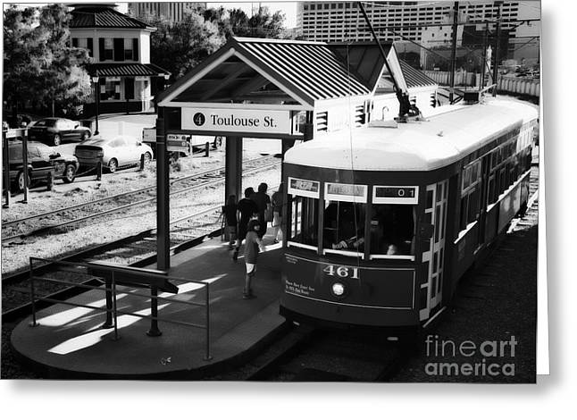Streetcar At Toulouse Depot New Orleans Greeting Card by Kathleen K Parker