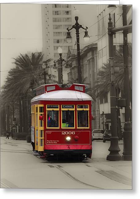 Canal Street Greeting Cards - Streetcar on Canal Street - New Orleans Greeting Card by Bill Cannon