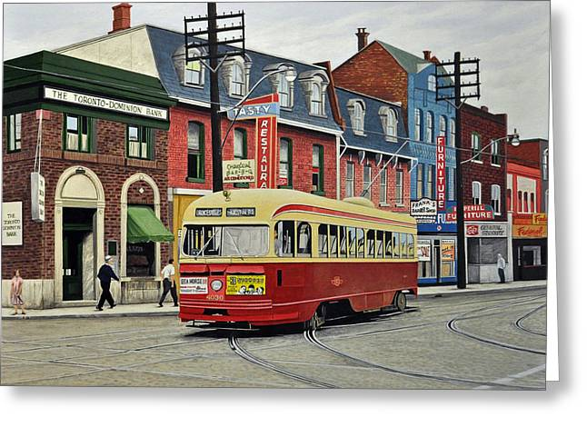 Bus Greeting Cards - Streetcar on Queen Street 1963 Greeting Card by Kenneth M  Kirsch