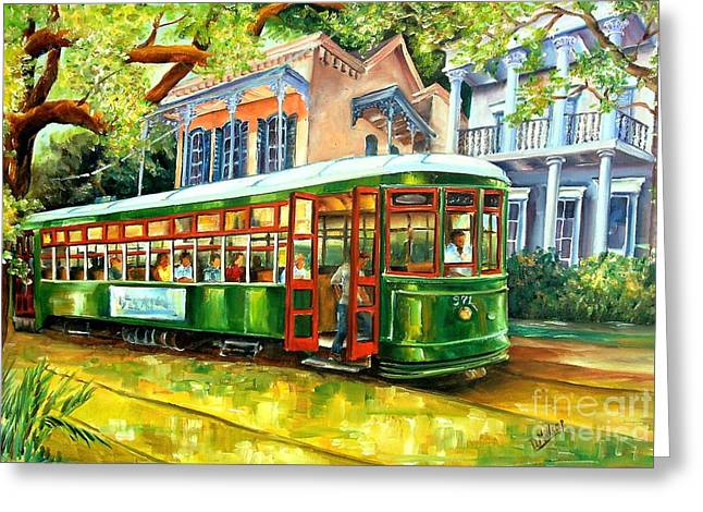 Oak Tree Paintings Greeting Cards - Streetcar on St.Charles Avenue Greeting Card by Diane Millsap