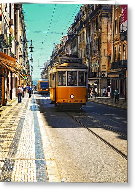 Streetcar Greeting Cards - Streetcar - Oporto Greeting Card by Mary Machare