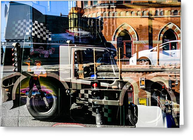 Streetlight Greeting Cards - Streetcars and trucks Greeting Card by Toppart Sweden