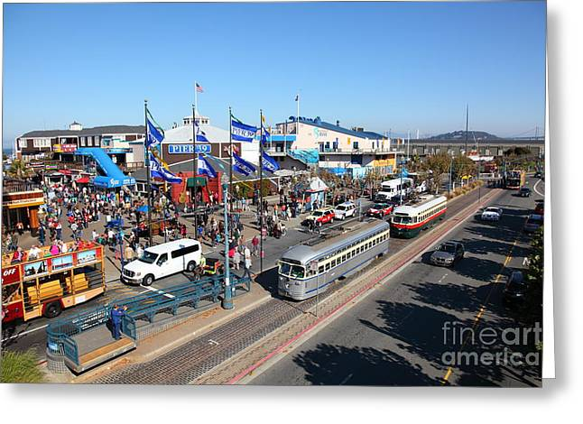Sight Seeing San Francisco Greeting Cards - Streetcars At Pier 39 San Francisco California 5D26054 Greeting Card by Wingsdomain Art and Photography