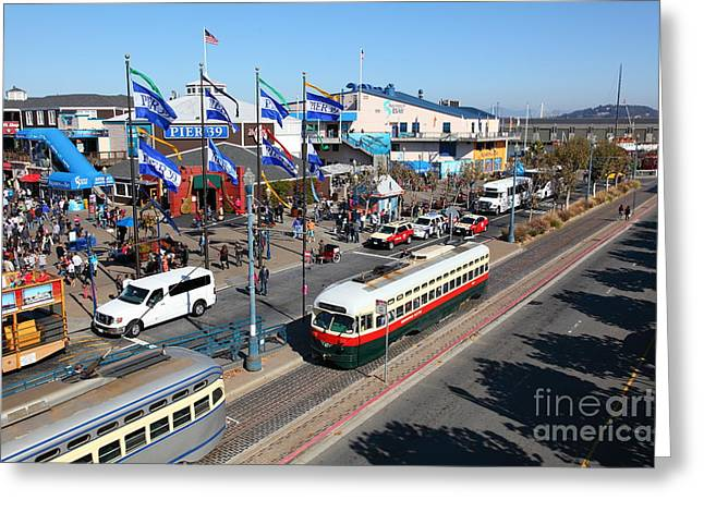 Sight Seeing San Francisco Greeting Cards - Streetcars At Pier 39 San Francisco California 5D26062 Greeting Card by Wingsdomain Art and Photography