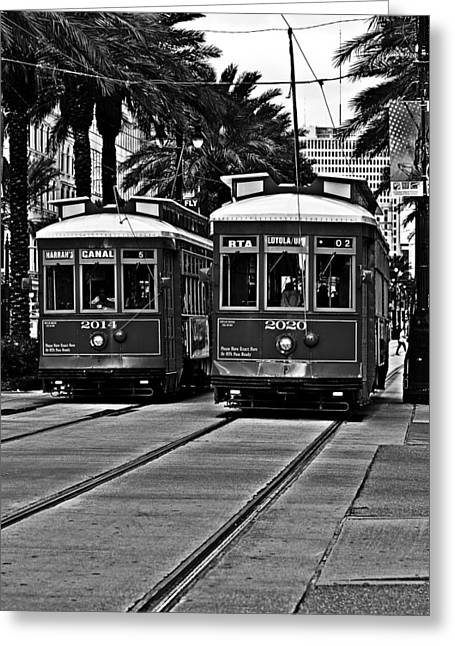 Canal Greeting Cards - Streetcars New Orleans Greeting Card by Christine Till