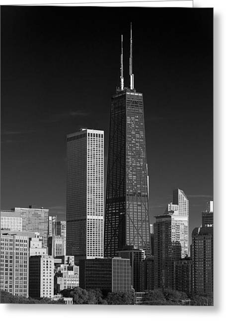 John Hancock Tower Greeting Cards - Streeterville Chicago Illinois B W Greeting Card by Steve Gadomski