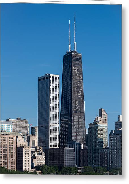 John Hancock Tower Greeting Cards - Streeterville Chicago Illinois Greeting Card by Steve Gadomski