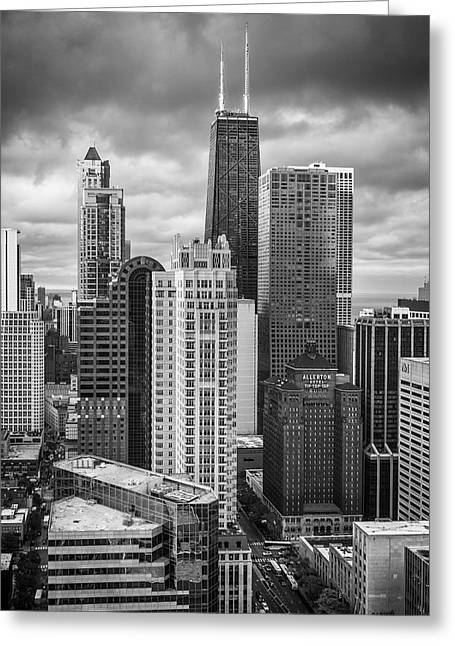 Streeterville From Above Black And White Greeting Card by Adam Romanowicz
