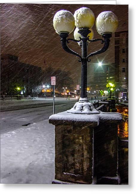 Streetlight Greeting Cards - Streetlight In Snow Greeting Card by Marc Crumpler