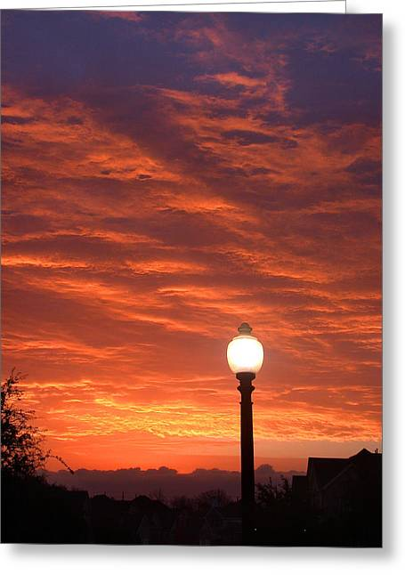 Streetlight Greeting Cards - Streetlight Sunset Texas Greeting Card by Tony Ramos