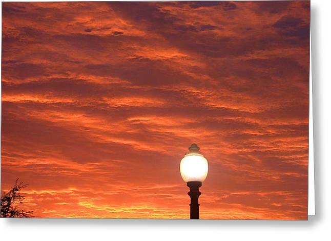 Streetlight Sunset Texas Greeting Card by Tony Ramos