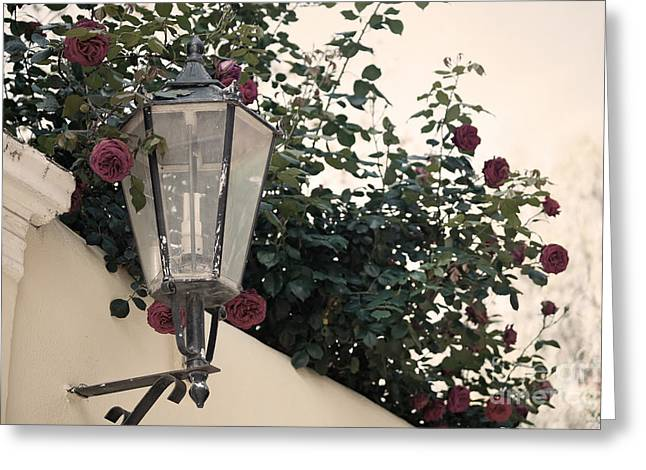Plaka Greeting Cards - Streetlight surrounded by roses Greeting Card by Aiolos Greek Collections