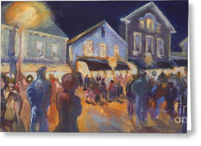 New England Village Paintings Greeting Cards - Streetlights in Chester Greeting Card by B Rossitto
