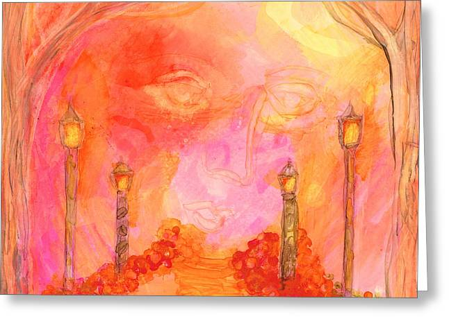 Prague Paintings Greeting Cards - Streetlights Greeting Card by Kelly Dallas