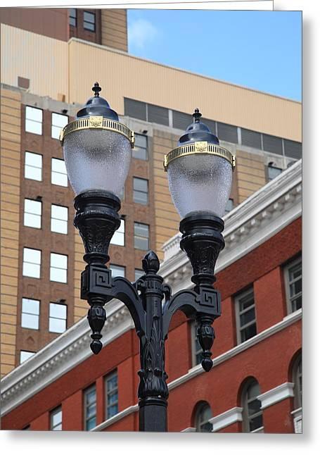 Streetlight Greeting Cards - Streetlights - Lansing Michigan Greeting Card by Frank Romeo