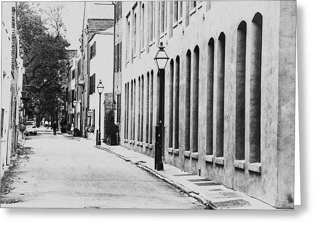 Charleston Sidewalk Greeting Cards - Streets of Charleston Greeting Card by Karol  Livote