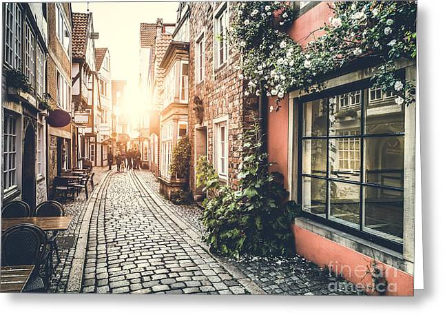 European Flower Shop Greeting Cards - Streets of Europe Greeting Card by JR Photography
