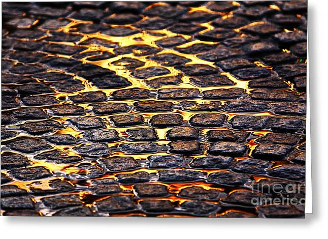 Old Street Greeting Cards - Streets of Gold Greeting Card by John Rizzuto