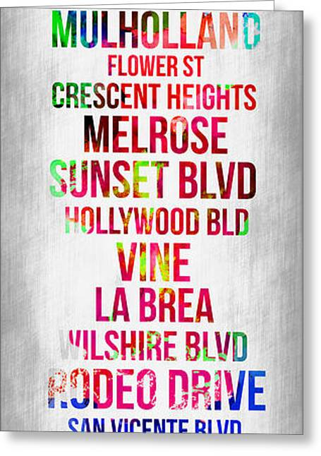 Scenic Greeting Cards - Streets of Los Angeles 1 Greeting Card by Naxart Studio