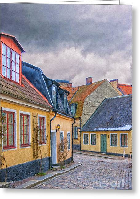 Lund Greeting Cards - Streets of lund Digital Painting Greeting Card by Antony McAulay