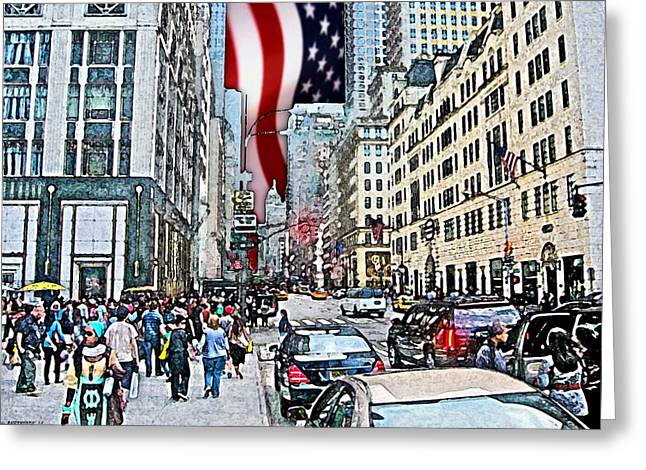 Streets Of Manhattan 2 Greeting Card by Mario Perez