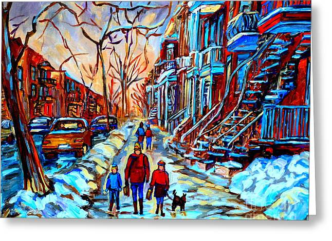 Montreal Winter Scenes Paintings Greeting Cards - Streets Of Montreal Greeting Card by Carole Spandau