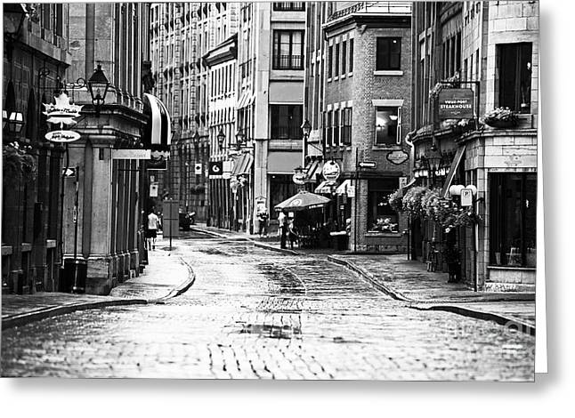Quebec Province Greeting Cards - Streets of Montreal Greeting Card by John Rizzuto