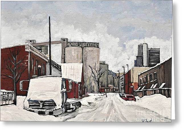 Streets Of Montreal Pointe St. Charles Greeting Card by Reb Frost