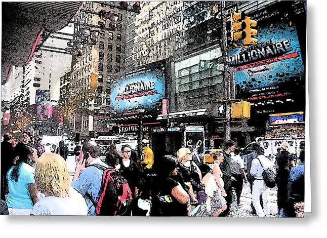Streets Of New York City 3 Greeting Card by Mario Perez