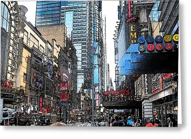 Streets Of New York City 6 Greeting Card by Mario Perez