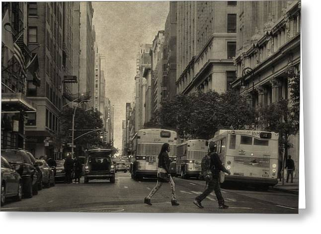 Crosswalk Greeting Cards - Streets Of New York City Greeting Card by Dan Sproul