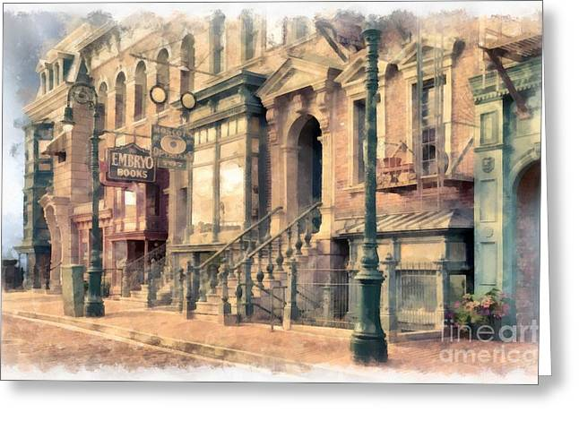 Light Pole Greeting Cards - Streets of Old New York City Watercolor Greeting Card by Edward Fielding