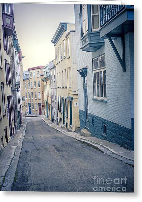 Historic Buildings Greeting Cards - Streets of Old Quebec City Greeting Card by Edward Fielding