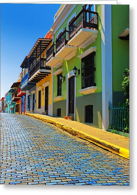 Brick Streets Greeting Cards - Streets of Old San Juan Greeting Card by Stephen Anderson