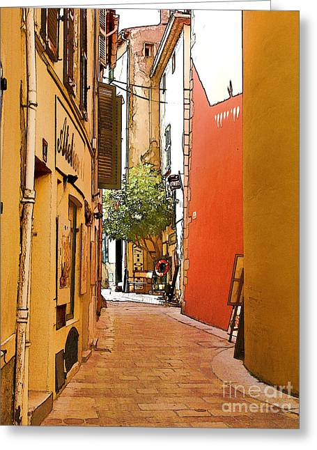 St.tropez Digital Art Greeting Cards - Streets of old St Tropez 2 Greeting Card by Rod Ohlsson