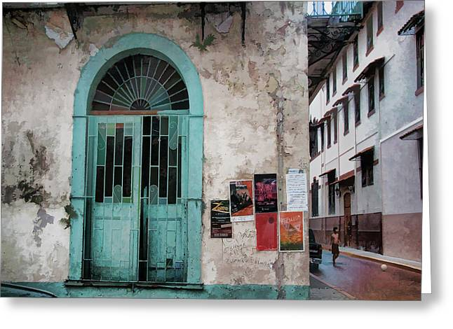 Sunlit Door Greeting Cards - Streets of Panama Greeting Card by Barbara D Richards