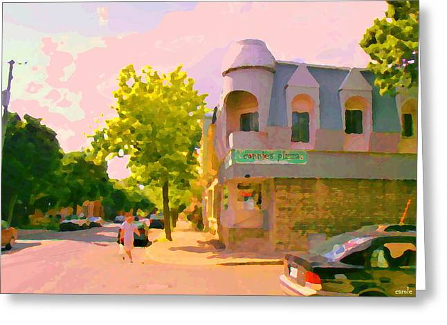 Verdun Pizza Greeting Cards - Streets Of Pointe St Charles Summer Scene Connies Pizza Rue Charlevoix Et Grand Trunk Carole Spandau Greeting Card by Carole Spandau