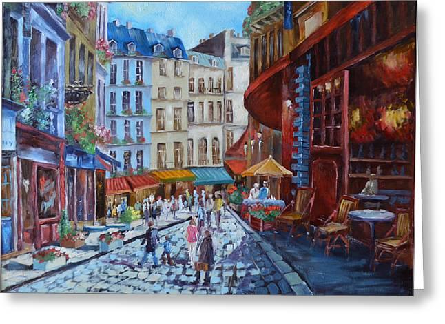 Prague Paintings Greeting Cards - Streets of Prague Greeting Card by Julia Pankova