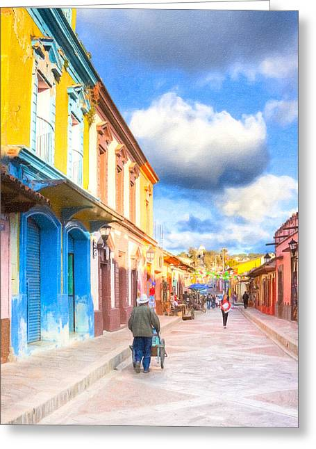 Colonial Architecture Greeting Cards - Streets of San Cristobal de las Casas - Colorful Mexico Greeting Card by Mark E Tisdale