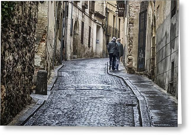 Streets of Segovia Greeting Card by Joan Carroll