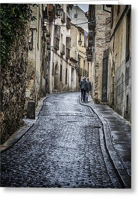 Stones Greeting Cards - Streets of Segovia Greeting Card by Joan Carroll